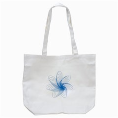 Spirograph Pattern Drawing Design Blue Tote Bag (white)