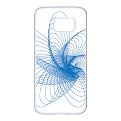 Spirograph Pattern Drawing Design Blue Samsung Galaxy S7 Edge White Seamless Case by Nexatart