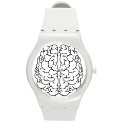 Brain Mind Gray Matter Thought Round Plastic Sport Watch (m) by Nexatart