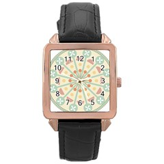Blue Circle Ornaments Rose Gold Leather Watch