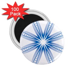 Blue Spirograph Pattern Circle Geometric 2 25  Magnets (100 Pack)  by Nexatart