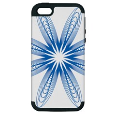 Blue Spirograph Pattern Circle Geometric Apple Iphone 5 Hardshell Case (pc+silicone)