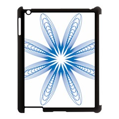Blue Spirograph Pattern Circle Geometric Apple Ipad 3/4 Case (black)