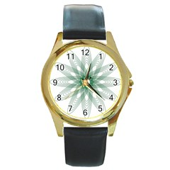 Spirograph Pattern Circle Design Round Gold Metal Watch