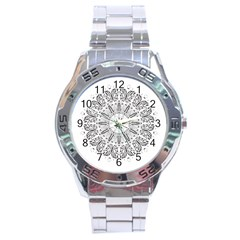 Art Coloring Flower Page Book Stainless Steel Analogue Watch by Nexatart