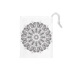 Art Coloring Flower Page Book Drawstring Pouches (small)  by Nexatart