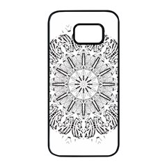 Art Coloring Flower Page Book Samsung Galaxy S7 Edge Black Seamless Case