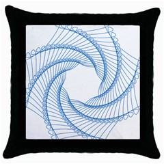 Spirograph Spiral Pattern Geometric Throw Pillow Case (black)