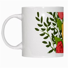 Roses Flowers Floral Flowery White Mugs by Nexatart