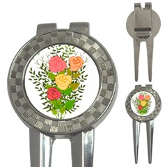 Roses Flowers Floral Flowery 3 In 1 Golf Divots by Nexatart