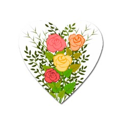 Roses Flowers Floral Flowery Heart Magnet by Nexatart