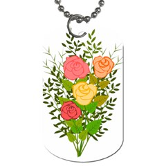 Roses Flowers Floral Flowery Dog Tag (one Side)