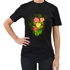 Roses Flowers Floral Flowery Women s T-shirt (black) (two Sided) by Nexatart