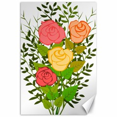 Roses Flowers Floral Flowery Canvas 24  X 36  by Nexatart