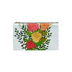 Roses Flowers Floral Flowery Cosmetic Bag (small)  by Nexatart