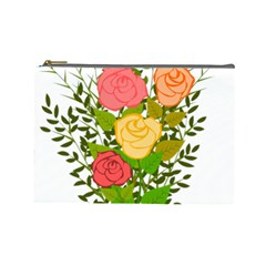 Roses Flowers Floral Flowery Cosmetic Bag (large)  by Nexatart