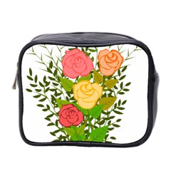 Roses Flowers Floral Flowery Mini Toiletries Bag 2 Side by Nexatart