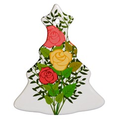 Roses Flowers Floral Flowery Christmas Tree Ornament (two Sides)