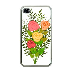 Roses Flowers Floral Flowery Apple Iphone 4 Case (clear) by Nexatart