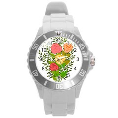Roses Flowers Floral Flowery Round Plastic Sport Watch (l) by Nexatart