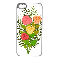 Roses Flowers Floral Flowery Apple Iphone 5 Case (silver) by Nexatart