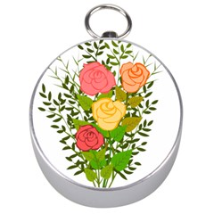 Roses Flowers Floral Flowery Silver Compasses