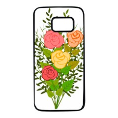 Roses Flowers Floral Flowery Samsung Galaxy S7 Black Seamless Case by Nexatart