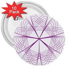 Purple Spirograph Pattern Circle Geometric 3  Buttons (10 Pack)  by Nexatart