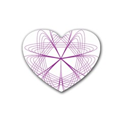 Purple Spirograph Pattern Circle Geometric Rubber Coaster (heart)  by Nexatart