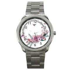 Flowers Twig Corolla Wreath Lease Sport Metal Watch by Nexatart