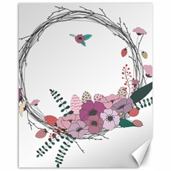 Flowers Twig Corolla Wreath Lease Canvas 11  X 14   by Nexatart
