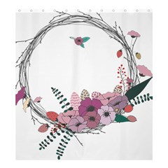 Flowers Twig Corolla Wreath Lease Shower Curtain 66  X 72  (large)  by Nexatart