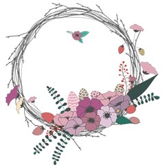 Flowers Twig Corolla Wreath Lease Magic Photo Cubes