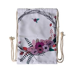 Flowers Twig Corolla Wreath Lease Drawstring Bag (small) by Nexatart