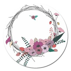 Flowers Twig Corolla Wreath Lease Magnet 5  (round) by Nexatart
