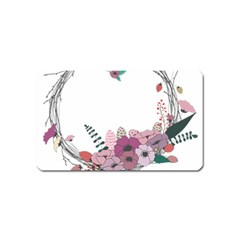 Flowers Twig Corolla Wreath Lease Magnet (name Card) by Nexatart