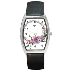 Flowers Twig Corolla Wreath Lease Barrel Style Metal Watch