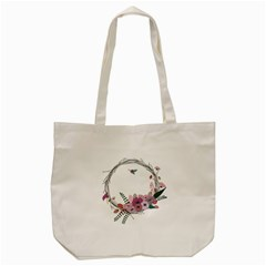 Flowers Twig Corolla Wreath Lease Tote Bag (cream)