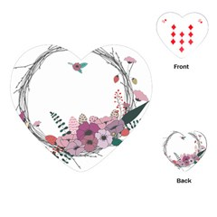 Flowers Twig Corolla Wreath Lease Playing Cards (heart)  by Nexatart