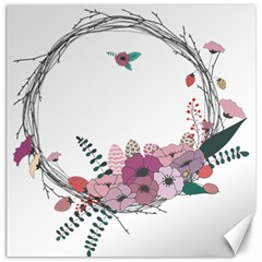 Flowers Twig Corolla Wreath Lease Canvas 12  X 12   by Nexatart