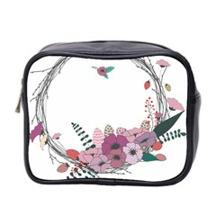 Flowers Twig Corolla Wreath Lease Mini Toiletries Bag 2 Side by Nexatart