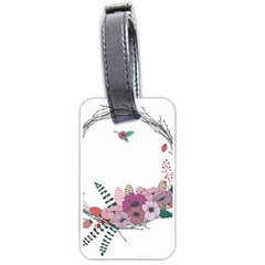 Flowers Twig Corolla Wreath Lease Luggage Tags (two Sides) by Nexatart