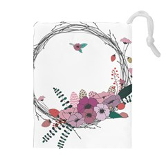 Flowers Twig Corolla Wreath Lease Drawstring Pouches (extra Large) by Nexatart