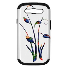 Flora Abstract Scrolls Batik Design Samsung Galaxy S Iii Hardshell Case (pc+silicone) by Nexatart