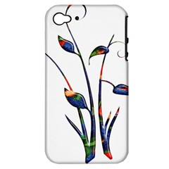 Flora Abstract Scrolls Batik Design Apple Iphone 4/4s Hardshell Case (pc+silicone) by Nexatart