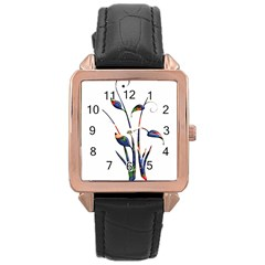Flora Abstract Scrolls Batik Design Rose Gold Leather Watch  by Nexatart