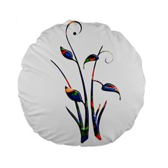 Flora Abstract Scrolls Batik Design Standard 15  Premium Flano Round Cushions by Nexatart