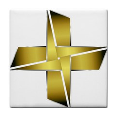 Logo Cross Golden Metal Glossy Tile Coasters by Nexatart