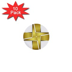 Logo Cross Golden Metal Glossy 1  Mini Buttons (10 Pack)  by Nexatart