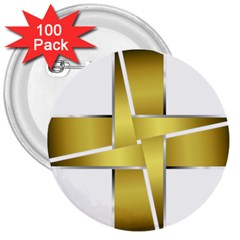 Logo Cross Golden Metal Glossy 3  Buttons (100 Pack)  by Nexatart